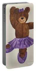 Portable Battery Charger featuring the painting Leah's Ballerina Bear 1 by Tamir Barkan