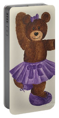 Portable Battery Charger featuring the painting Leah's Ballerina Bear 2 by Tamir Barkan