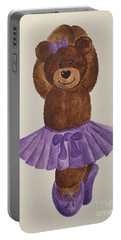 Portable Battery Charger featuring the painting Leah's Ballerina Bear 3 by Tamir Barkan