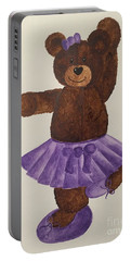 Portable Battery Charger featuring the painting Leah's Ballerina Bear 4 by Tamir Barkan