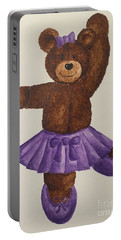 Portable Battery Charger featuring the painting Leah's Ballerina Bear 5 by Tamir Barkan