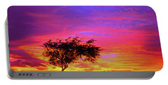 Leaning Tree At Sunset Portable Battery Charger