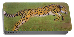 Leaping Cheetah Portable Battery Charger by Ann Michelle Swadener