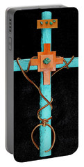 Portable Battery Charger featuring the mixed media Leather And Stone Cross by M Diane Bonaparte