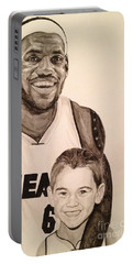 Portable Battery Charger featuring the painting Lebron And Carter by Tamir Barkan
