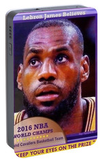 Portable Battery Charger featuring the drawing Lebron James Believes by Ray Tapajna