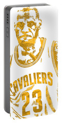 Lebron James Cleveland Cavaliers Pixel Art 10 Portable Battery Charger by Joe Hamilton