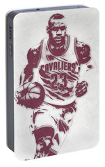Lebron James Cleveland Cavaliers Pixel Art 4 Portable Battery Charger by Joe Hamilton