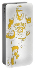 Lebron James Cleveland Cavaliers Pixel Art 5 Portable Battery Charger by Joe Hamilton