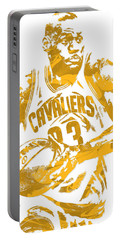 Lebron James Cleveland Cavaliers Pixel Art 6 Portable Battery Charger by Joe Hamilton