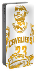 Lebron James Cleveland Cavaliers Pixel Art 8 Portable Battery Charger by Joe Hamilton