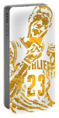 Lebron James Cleveland Cavaliers Pixel Art 9 Portable Battery Charger by Joe Hamilton