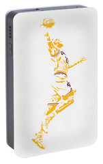 Lebron James Cleveland Cavaliers Pixel Art Portable Battery Charger by Joe Hamilton