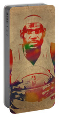 Lebron James Watercolor Portrait Portable Battery Charger
