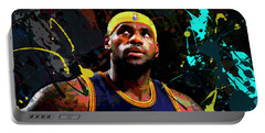 Portable Battery Charger featuring the painting Lebron by Richard Day