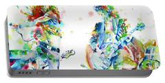 Led Zeppelin Live Concert - Watercolor Portrait.1 Portable Battery Charger by Fabrizio Cassetta