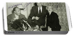 Portable Battery Charger featuring the photograph Lefty O Doul Joe Dimaggio And Marilyn Monroe Circa 1955 by Peter Gumaer Ogden