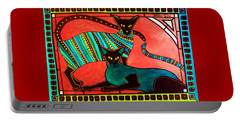 Portable Battery Charger featuring the painting Legend Of The Siamese - Cat Art By Dora Hathazi Mendes by Dora Hathazi Mendes