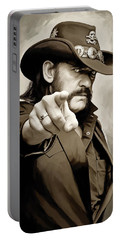 Portable Battery Charger featuring the painting Lemmy Kilmister Motorhead Artwork 1 by Sheraz A