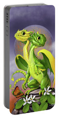 Portable Battery Charger featuring the digital art Lemon Lime Dragon by Stanley Morrison