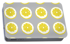 Lemon Slices On Grey- Art By Linda Woods Portable Battery Charger by Linda Woods