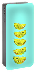 Lemon Slices Turquoise Portable Battery Charger