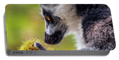 Portable Battery Charger featuring the photograph Lemur And Sweet Chestnut by Nick Bywater