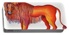Leo The Lion Portable Battery Charger by Jane Tattersfield