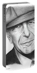 Leonard Cohen Portable Battery Charger by Greg Joens