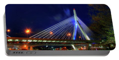 Portable Battery Charger featuring the photograph Leonard P Zakim Bridge At Night - Boston Cityscape by Joann Vitali