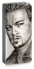 Leonardo Dicaprio Portrait Nr.2 Portable Battery Charger by Alban Dizdari