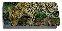 Leopard At A Pond Portable Battery Charger