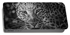 Leopard, Black And White Portable Battery Charger