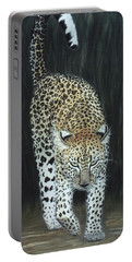 Portable Battery Charger featuring the painting Leopard by Karen Zuk Rosenblatt