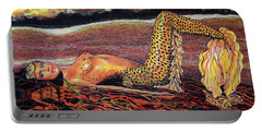 Leopard Mermaid Portable Battery Charger by Debbie Chamberlin