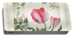 Les Magnifiques Fleurs I - Magnificent Garden Flowers Parrot Tulips N Indigo Bunting Songbird Portable Battery Charger by Audrey Jeanne Roberts