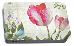 Les Magnifiques Fleurs IIi - Magnificent Garden Flowers Parrot Tulips N Indigo Bunting Songbird Portable Battery Charger by Audrey Jeanne Roberts