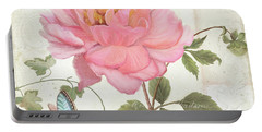 Les Magnifiques Fleurs Iv - Magnificent Garden Flowers Pink Peony N Blue Butterfly Portable Battery Charger