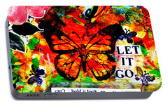 Portable Battery Charger featuring the mixed media Let It Go by Genevieve Esson