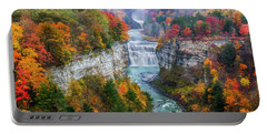 Letchworth Middle Falls In Fall Portable Battery Charger