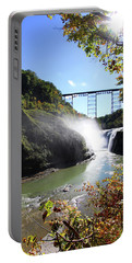 Portable Battery Charger featuring the photograph Letchworth State Park Railroad Bridge by Trina Ansel