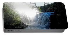 Letchworth State Park Upper Falls And Railroad Trestle Abstract Portable Battery Charger