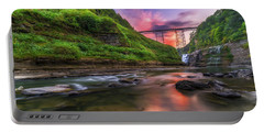 Letchworth Upper Falls At Dusk Portable Battery Charger