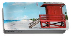 Let's Meet At The Red Lifeguard Shack Portable Battery Charger by Lloyd Dobson