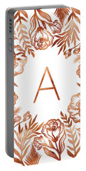 Letter A - Rose Gold Glitter Flowers Portable Battery Charger