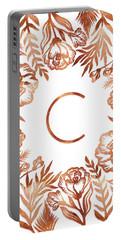 Letter C - Rose Gold Glitter Flowers Portable Battery Charger