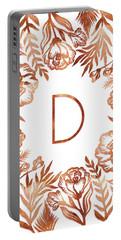 Letter D - Rose Gold Glitter Flowers Portable Battery Charger