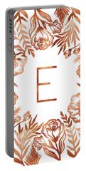 Letter E - Rose Gold Glitter Flowers Portable Battery Charger