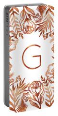 Letter G - Rose Gold Glitter Flowers Portable Battery Charger
