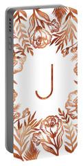 Letter J - Rose Gold Glitter Flowers Portable Battery Charger